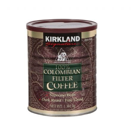 Kirkland Signature 100% Colombian Filter Coffee Dark Roast, 1.362Kg Tub